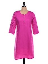 Pink Plain Cotton Blend Kurta - KAJJALI