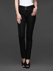 Black Cotton Lycra Formal Trousers - Kaaryah