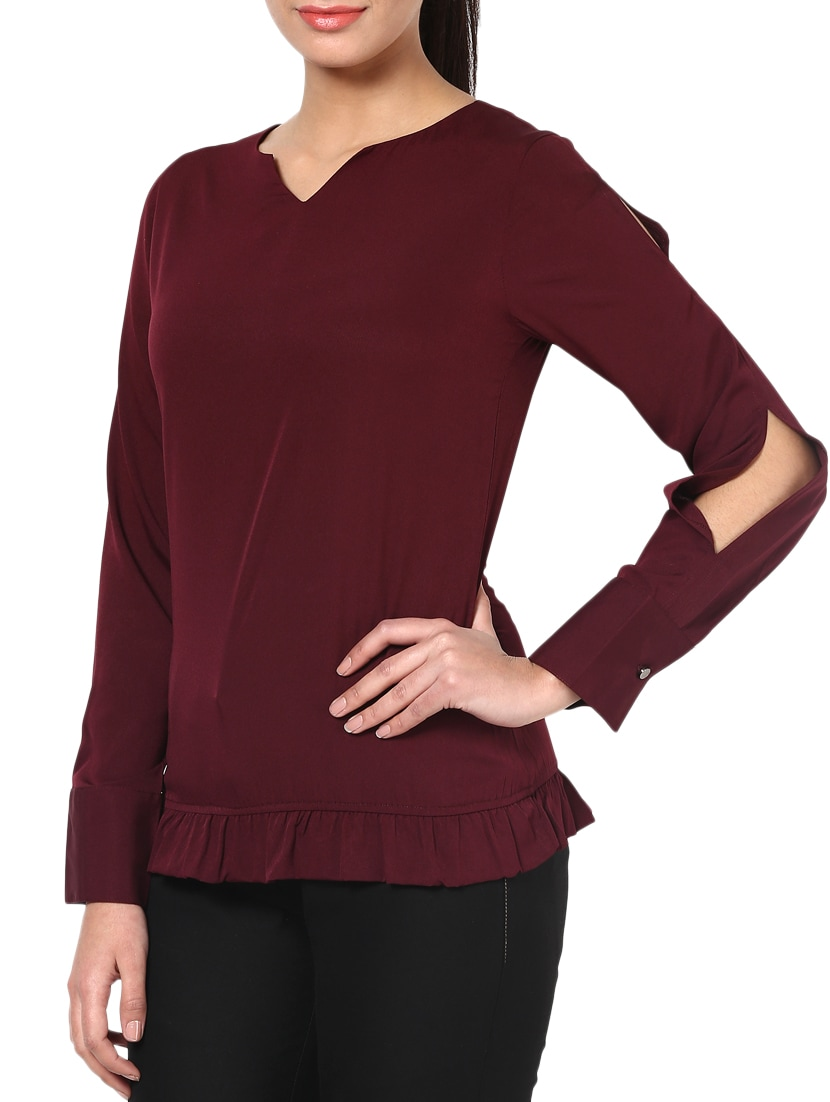 Wine Red Poly Crepe Gathered Top - By