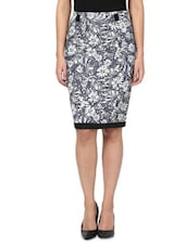 Blue Cotton Printed Pencil Fit Skirt - By