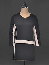 Black And Pale Pink Color Blocked Dress - Kaaryah