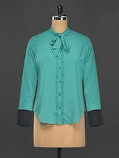 Teal Poly-Crepe Button Down Formal Blouse - Kaaryah