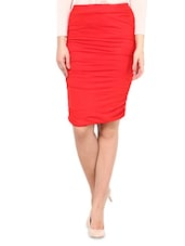 Red Viscose Lycra  Straight Fit Skirt - By