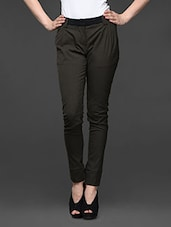 Olive Green Cotton Polyester Lycra Formal Trousers - Kaaryah
