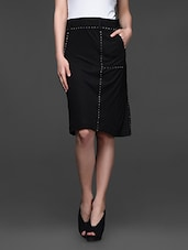 Black Viscose Knit Formal Skirt - Kaaryah