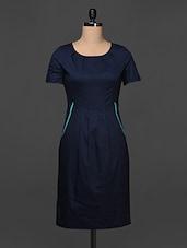 Navy Blue Cotton Lycra Sheath Dress - Kaaryah