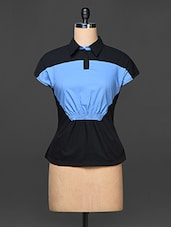 Black And Sky Blue Color Block Top - Kaaryah