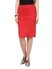 Red Cotton  Polyester Lycra  Slim Fit Skirt - By