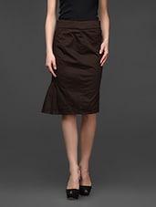 Brown Slim-Fit Pleating Detailed Formal Skirt - Kaaryah