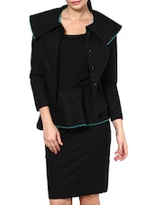 Black Cotton Lycra Formal Jacket - By
