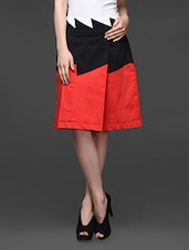 Pleated Red And Black Color Blocked Skirt - Kaaryah