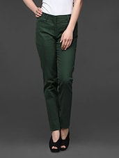 Forest Green Straight Fit Formal Trousers - Kaaryah