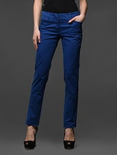 Blue Straight Fit Formal Trousers - Kaaryah