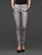 Light Grey Skinny Fit Formal Trousers - Kaaryah