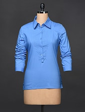 Cornflower Blue Pintuck Detail Formal Top - Kaaryah