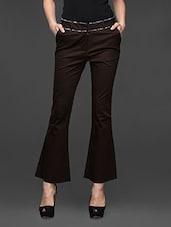 Brown Boot Cut Formal Trousers - Kaaryah