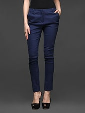 Navy Blue Skinny Fit Formal Trousers - Kaaryah