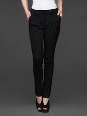 Black Smocked Front Slim Fit Trousers - Kaaryah
