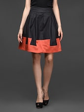 Charcoal Grey Box Pleated Color Block Skirt - Kaaryah