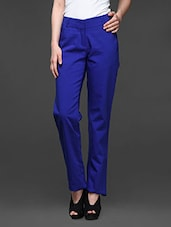 Blue Straight Fit Formals Trousers - Kaaryah