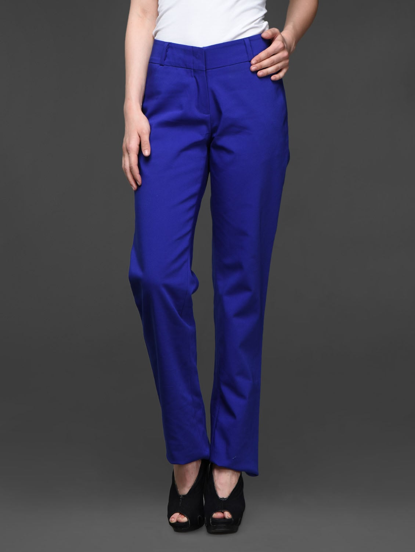 Blue Straight Fit Formals Trousers - Kaaryah