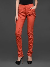 Rust Orange Slim Fit Formal Trousers - Kaaryah