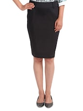 Black Cotton Satin And Lycra  Pencil Fit Skirt - By