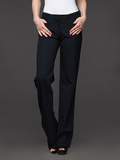Navy Straight Fit Formal Trousers - Kaaryah
