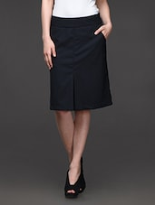 Navy Blue Formal Skirt With Inverted Pleat - Kaaryah