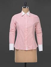 Pink Pinstripe And Frilled Placket Formal Shirt - Kaaryah