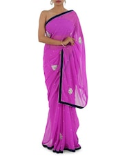 Blue Border Hand Work Saree - Bandhni