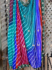 Multi Color Lehariya Hand Work Saree - Lazza