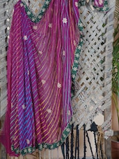 Lehariya Hand Work Saree - Lazza