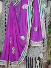 Chiffon Saree With Gota Border - Lazza