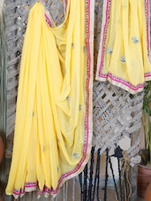 Embellished Georgette Saree With Gota Border - Lazza