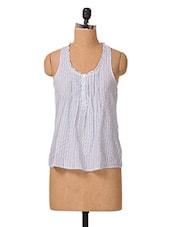 Striped Printed Cotton Sleeveless Top - Oxolloxo - 1027694