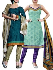green&blue cotton unstitched suit -  online shopping for Unstitched Suits