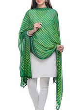 Green, Yellow Chiffon Leheria Dupatta - By