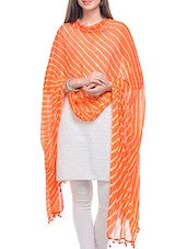 Orange, White Chiffon Leheria Dupatta - By