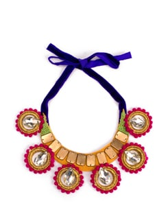 Hoop and diamond necklace in pink and gold - Xx Syndrome