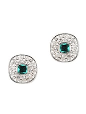Green Stone & Crystals Stud Earrings - YOUSHINE