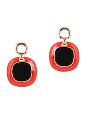 Metal Red & Black Drop Earrings - YOUSHINE