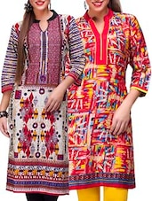 Red,maroon Cotton Combos Kurta - By