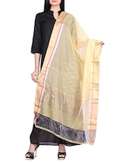 Yellow Cotton Silk Hand Woven Dupatta - By