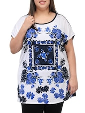 Multicolored  Flower Printed Cotton Top - PLUSS