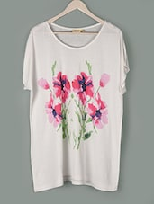 White Floral Print Cotton Top - PLUSS
