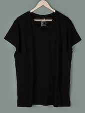 Black Plain V-Neck Cotton T-shirt - PLUSS