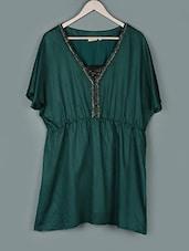 Dark Green V-neck Polyester Top - PLUSS