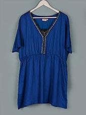 Royal Blue  V-neck Polyester Top - PLUSS