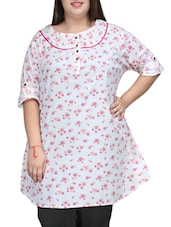 White-Pink Floral Printed Cotton Tunic - PLUSS